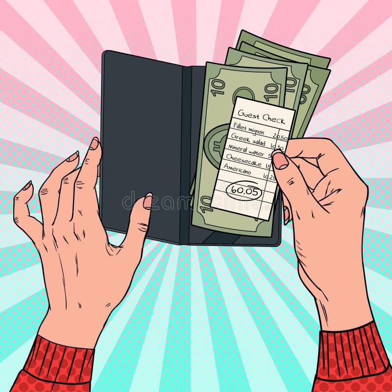 Estallido Art Woman Paying el Bill en el restaurante Manos femeninas que llevan a cabo el control de la huésped con efectivo ilustración del vector