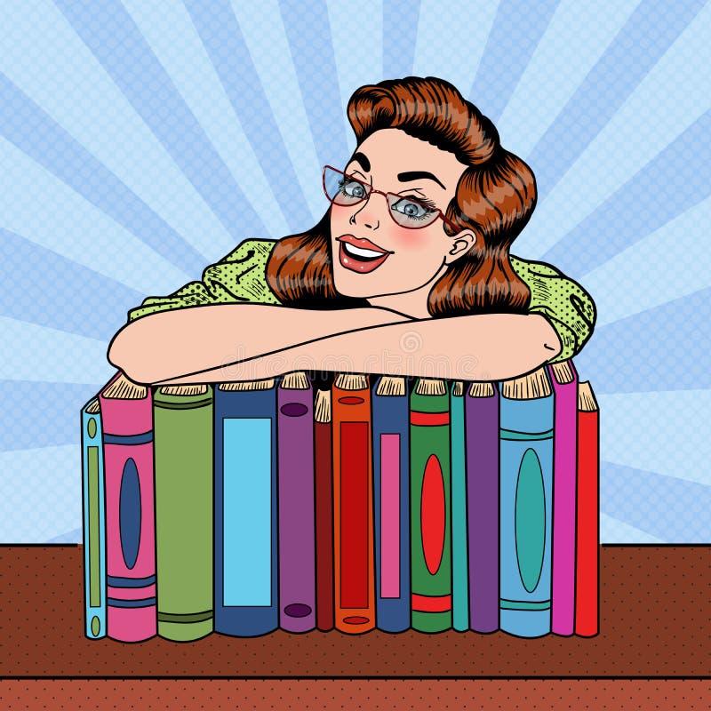 Estallido Art Woman Student con los libros en biblioteca stock de ilustración
