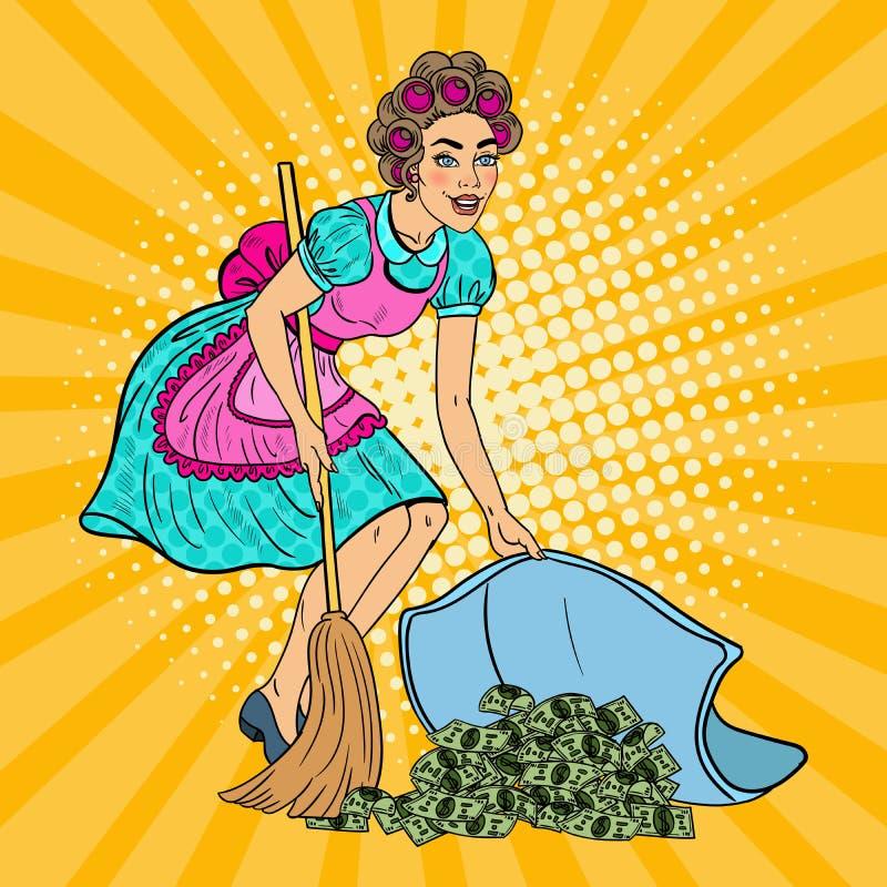 Estallido Art Young Housewife Hiding Money debajo de la manta ilustración del vector