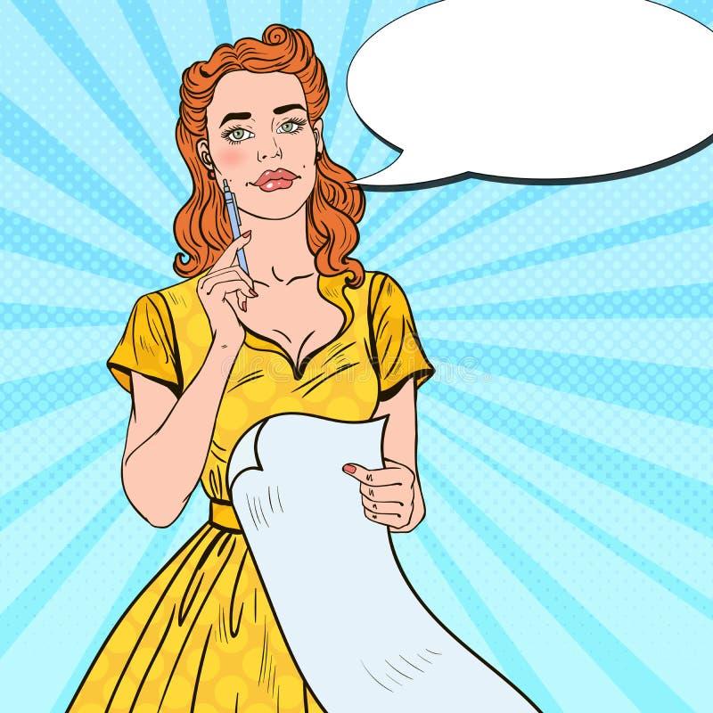 Estallido Art Young Woman con la pluma y la lista de compras libre illustration