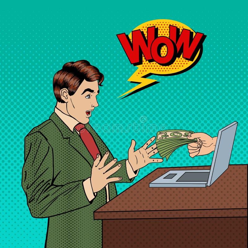 Estallido emocionado Art Business Man Receiving Money del ordenador portátil ilustración del vector
