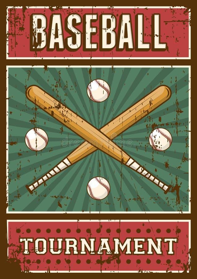 Estallido retro Art Poster Signage del deporte del béisbol ilustración del vector
