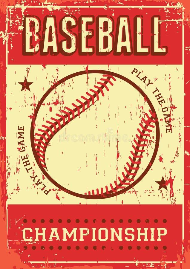 Estallido retro Art Poster Signage del deporte del béisbol stock de ilustración