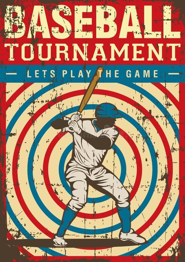 Estallido retro Art Poster Signage del deporte del béisbol libre illustration