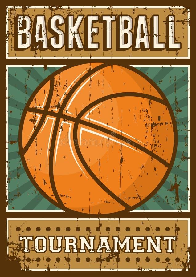 Estallido retro Art Poster Signage del deporte del baloncesto ilustración del vector