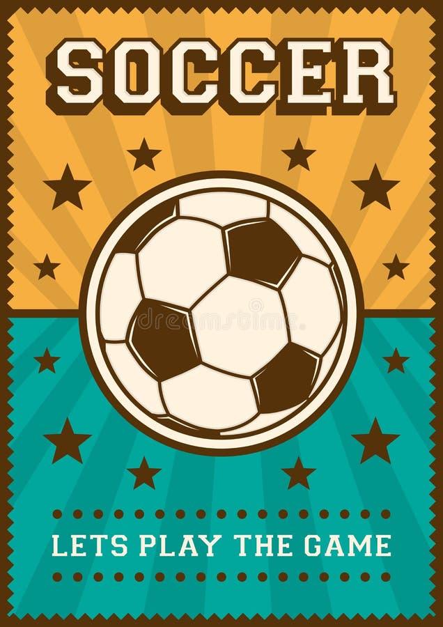 Estallido retro Art Poster Signage del deporte del fútbol del fútbol ilustración del vector