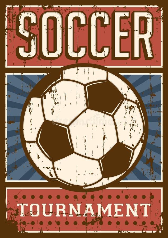 Estallido retro Art Poster Signage del deporte del fútbol del fútbol stock de ilustración