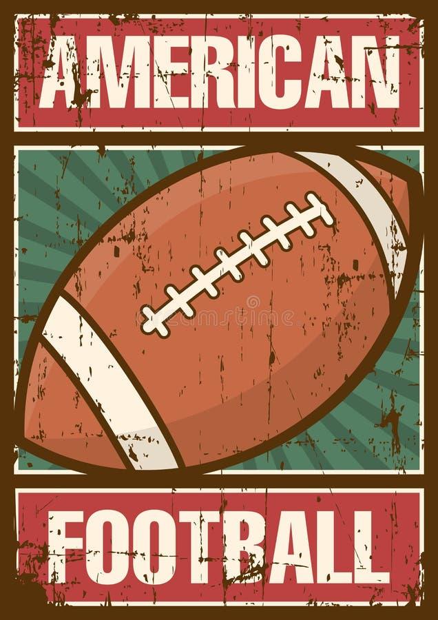 Estallido retro Art Poster Signage del deporte del rugbi del fútbol americano libre illustration