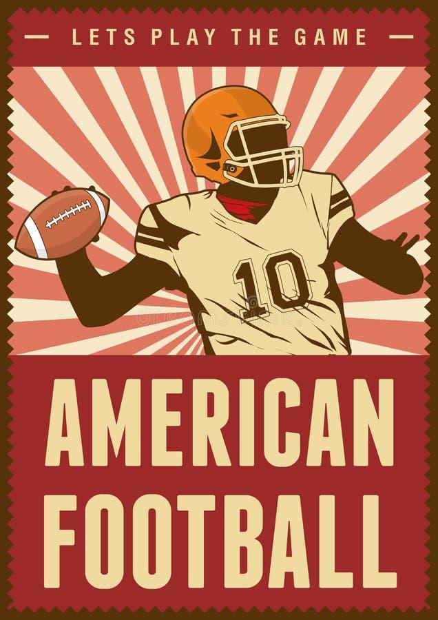Estallido retro Art Poster Signage del deporte del rugbi del fútbol americano ilustración del vector