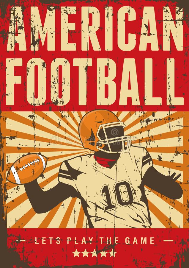 Estallido retro Art Poster Signage del deporte del rugbi del fútbol americano stock de ilustración