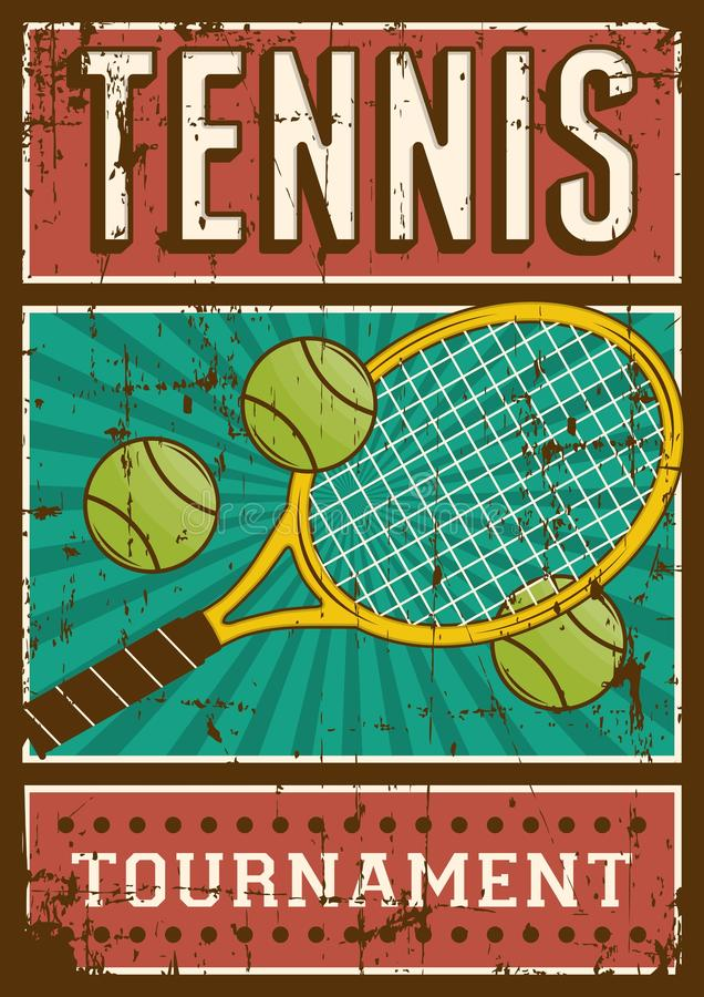 Estallido retro Art Poster Signage del deporte del tenis stock de ilustración