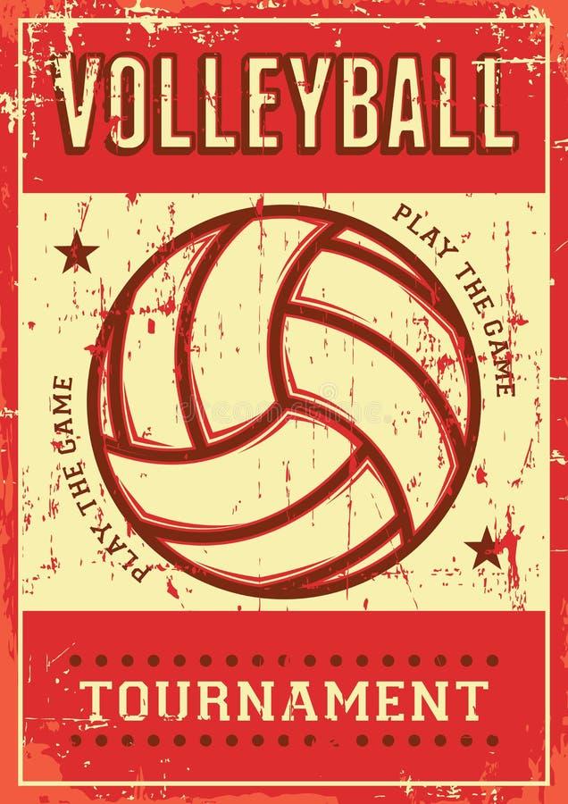 Estallido retro Art Poster Signage del deporte del voleibol de la bola del voleo stock de ilustración