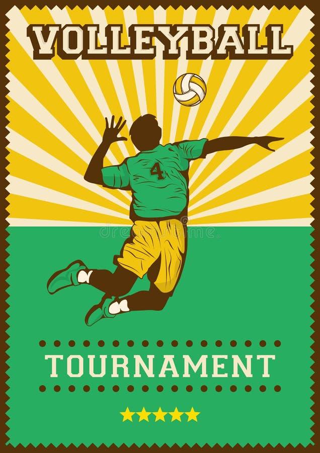 Estallido retro Art Poster Signage del deporte del voleibol de la bola del voleo libre illustration
