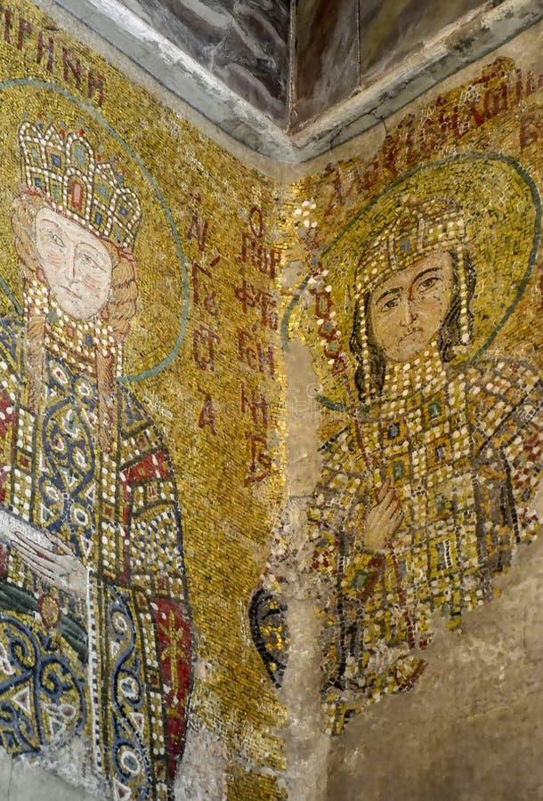 Estambul, Hagia Sophia Fragmento de un mosaico bizantino antiguo que representa la emperatriz Irina y al emperador Alexey Comneno fotografía de archivo