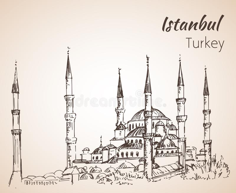 Estambul Sultan Ahmed Mosque - mezquita azul Turquía libre illustration
