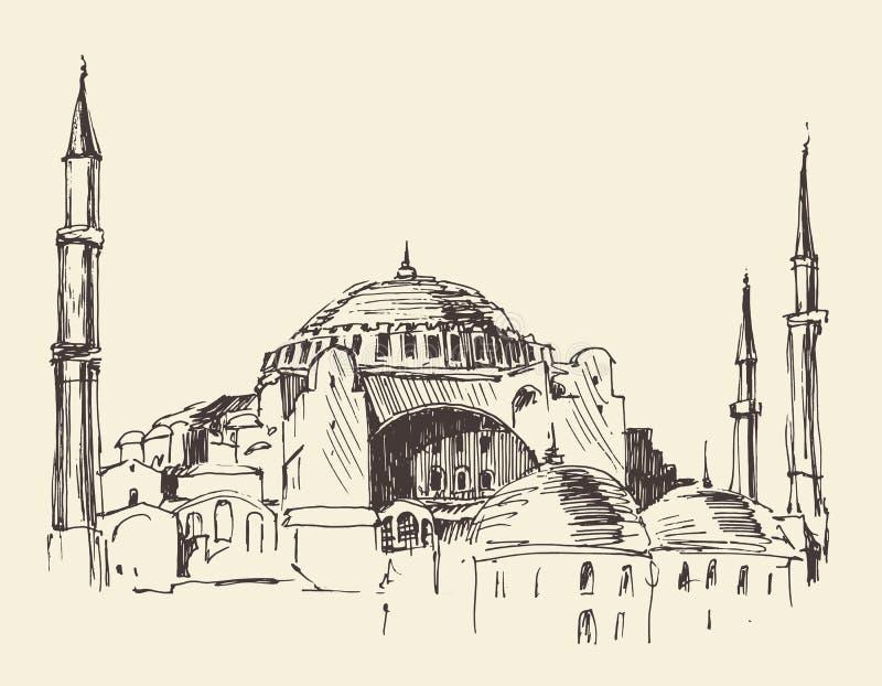 Estambul, Turquía, Hagia Sophia, bosquejo grabado stock de ilustración
