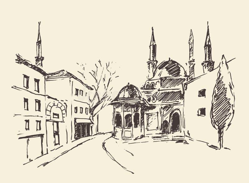 Estambul, Turquía, puerto, vintage grabó bosquejo stock de ilustración