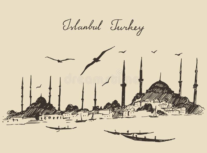 Estambul, Turquía, vintage grabó vector del bosquejo libre illustration
