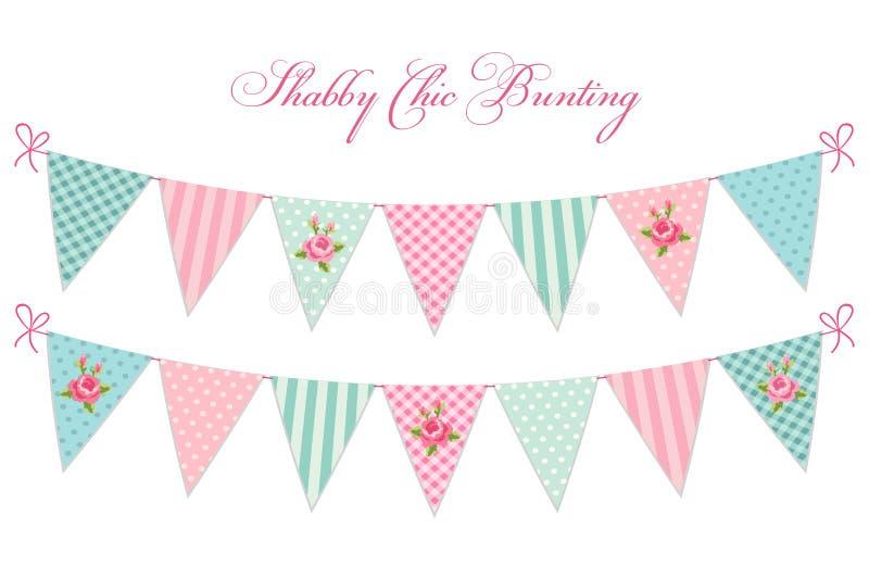 A estamenha chique gasto de matéria têxtil do vintage bonito embandeira o ideal para a festa do bebê, casamento, aniversário ilustração stock