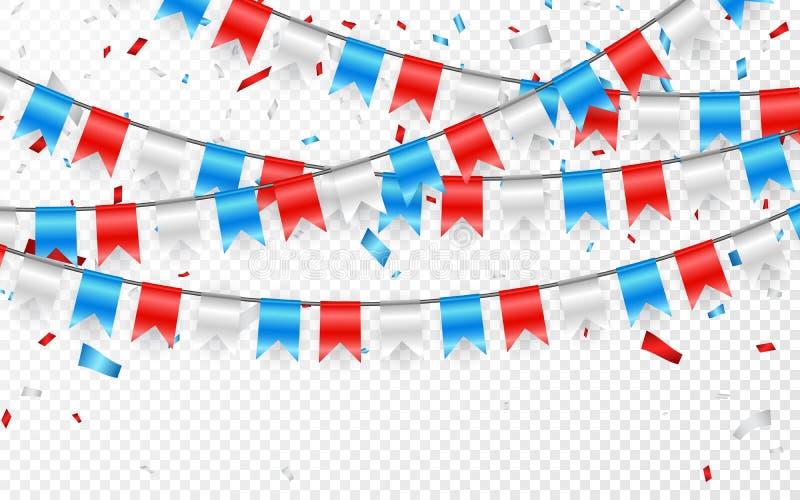 Estamenha festiva da bandeira do russo contra o fundo do partido com festão das bandeiras Festões de bandeiras azuis e de confete ilustração royalty free