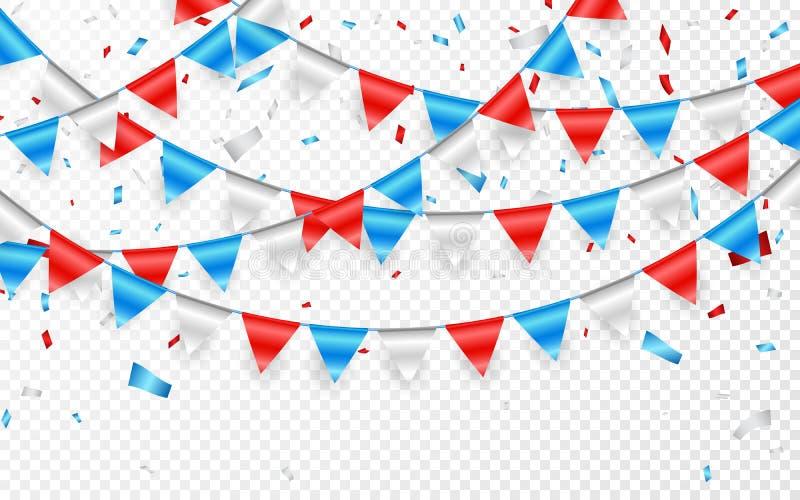 Estamenha festiva da bandeira do russo contra o fundo do partido com festão das bandeiras Festões de bandeiras azuis e de confete ilustração stock