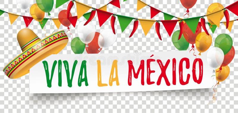 Estamenhas de papel Chili Sombrero Cinco de Mayo da bandeira ilustração royalty free