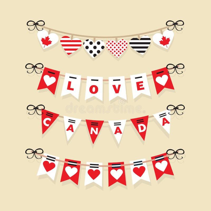 Estamenhas do dia de Canadá e ícones festivos das festões ilustração royalty free