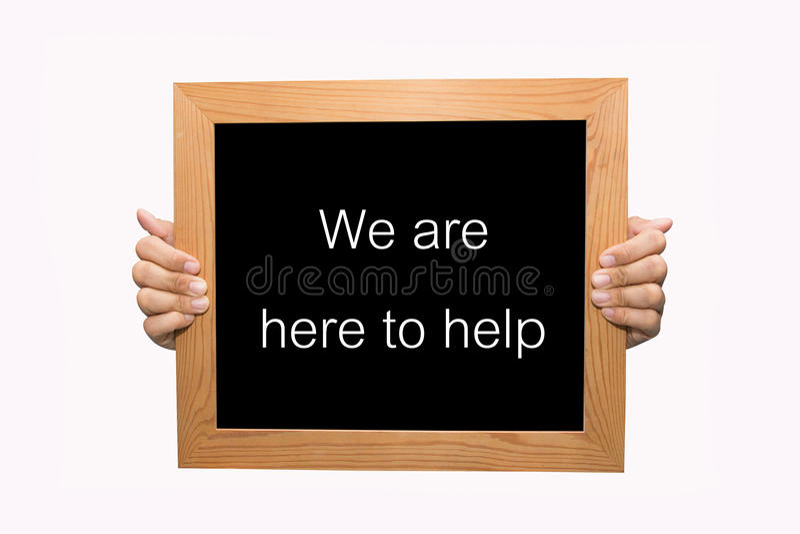 Estamos aquí ayudar imagen de archivo