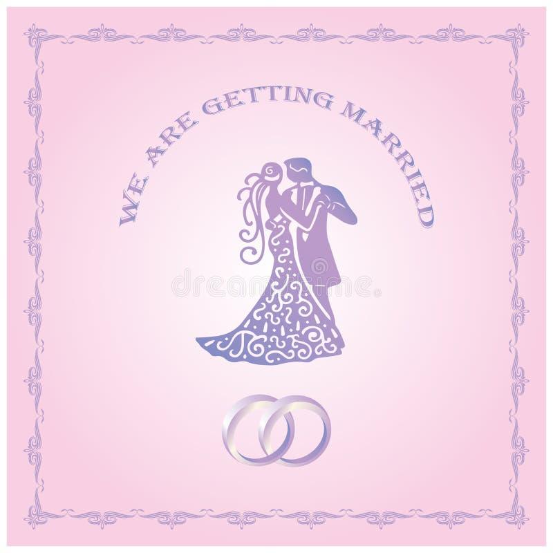 Estamos consiguiendo la tarjeta casada de la plantilla Excepto la fecha Invitación de la boda con los pares Novia y novio Ilustra ilustración del vector
