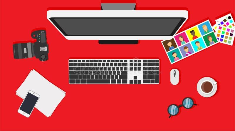 Estamos contratando a gente del diseñador gráfico Trabajo de escritorio creativo del ordenador de vector de la oficina Sistema de ilustración del vector
