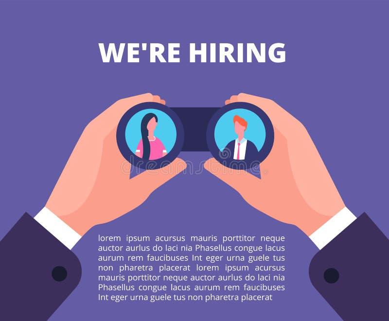 Estamos empleando concepto Hombre de negocios, manos del reclutador que se consideran binoculares con los empleados en lentes Car ilustración del vector