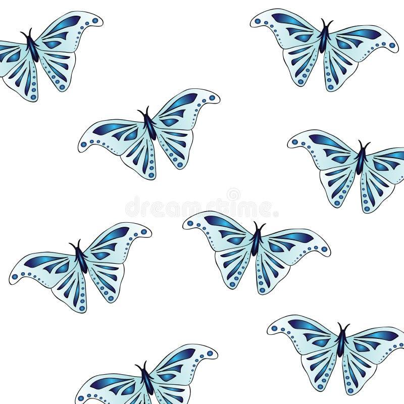 Estampado de animales hermoso de la textura - mariposas Las alas del insecto son azules claras con un modelo hermoso del añil imagen de archivo libre de regalías