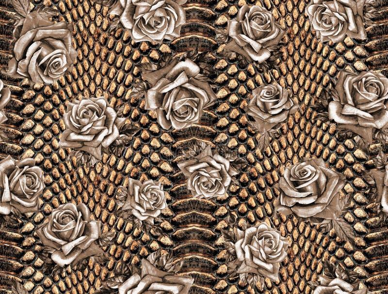Estampado de flores abstracto inconsútil en una textura de la piel del leopardo, serpiente fotografía de archivo