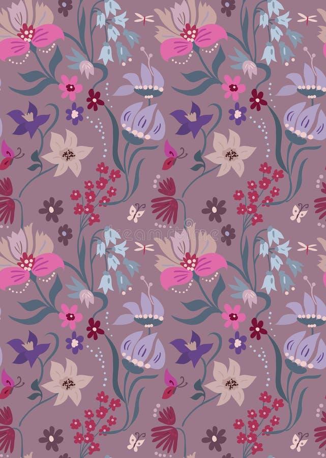 Estampado de flores agradable en flores hermosas Diseño lindo del flourish Fondo de Ditsy con las flores ilustración del vector