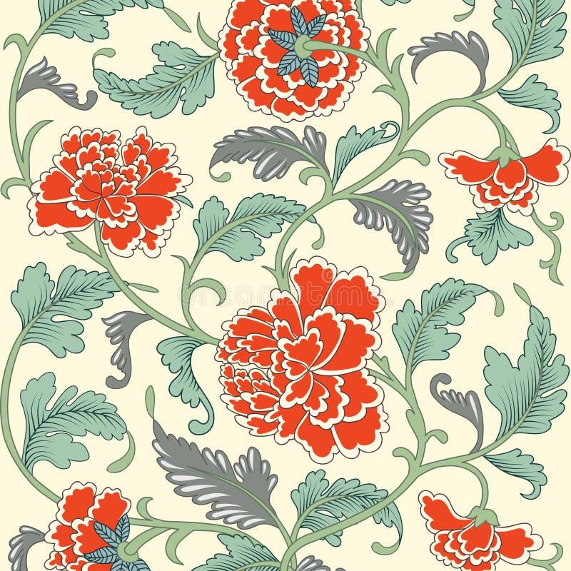 Estampado de flores antiguo coloreado Ornamental ilustración del vector