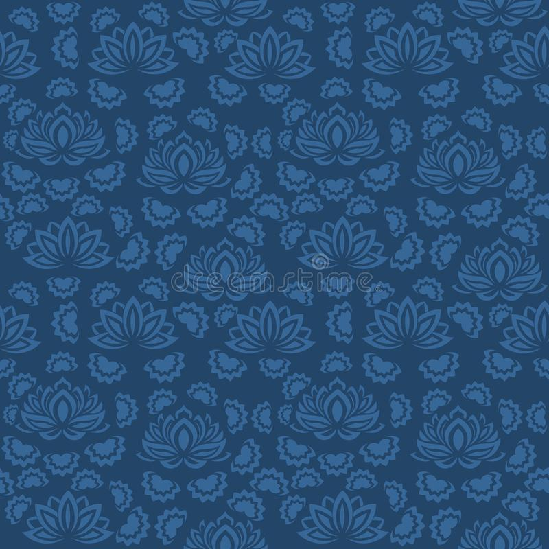 Estampado de flores azul inconsútil, vector La textura sin fin se puede utilizar para el papel pintado, terraplenes de modelo, fo stock de ilustración
