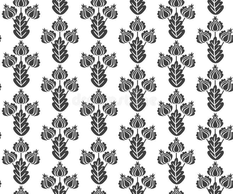 Estampado de flores blanco y negro inconsútil del vector en estilo del vintage Impresión para la tela, papel pintado, envolviendo libre illustration
