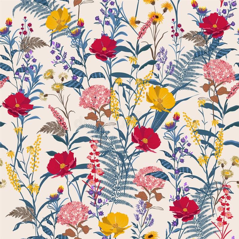 Estampado de flores brillante de moda en los muchos clase de flores Botani stock de ilustración