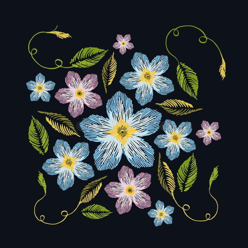 Estampado de flores colorido de la primavera, bordado tradicional Vector f ilustración del vector