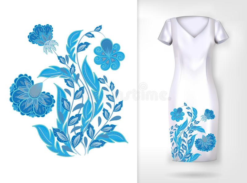 Estampado de flores colorido de la tendencia del bordado Flowerspattern ornamental tradicional del vector en mofa del vestido par stock de ilustración