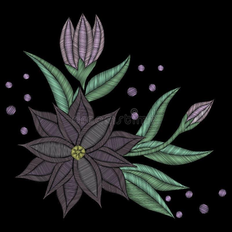 Estampado de flores colorido de la tendencia del bordado con la flor y la hoja libre illustration