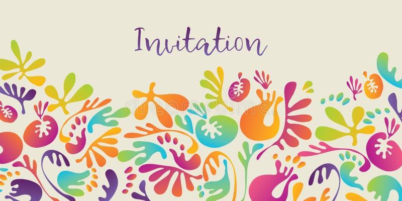 Estampado de flores colorido tropical abstracto para la invitación stock de ilustración