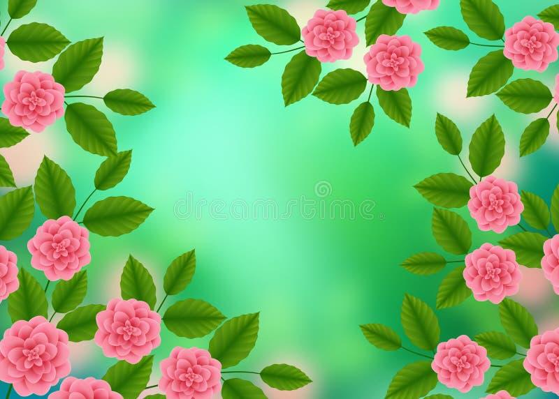 Estampado de flores con de las rosas rosadas florecientes en el fondo borroso verde de Bokeh Ramo de los Wildflowers y de las peo stock de ilustración