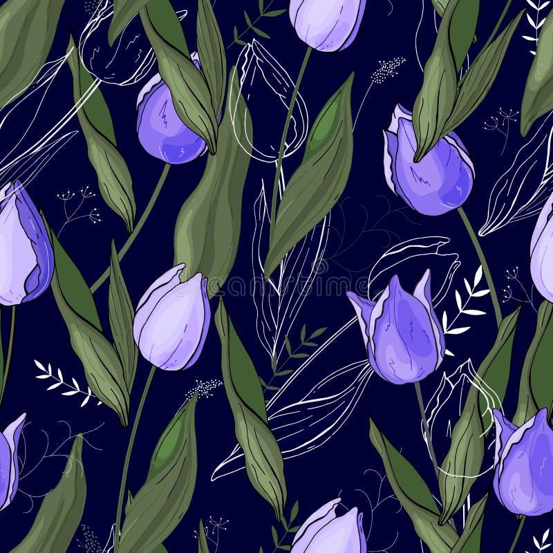 Estampado de flores con el diferente tipo de flores Tulipanes Estilo exhausto de la mano en fondo Textura inconsútil del vector stock de ilustración