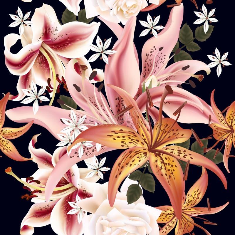 Estampado de flores con el lirio en el ejemplo del vector del estilo de la acuarela libre illustration