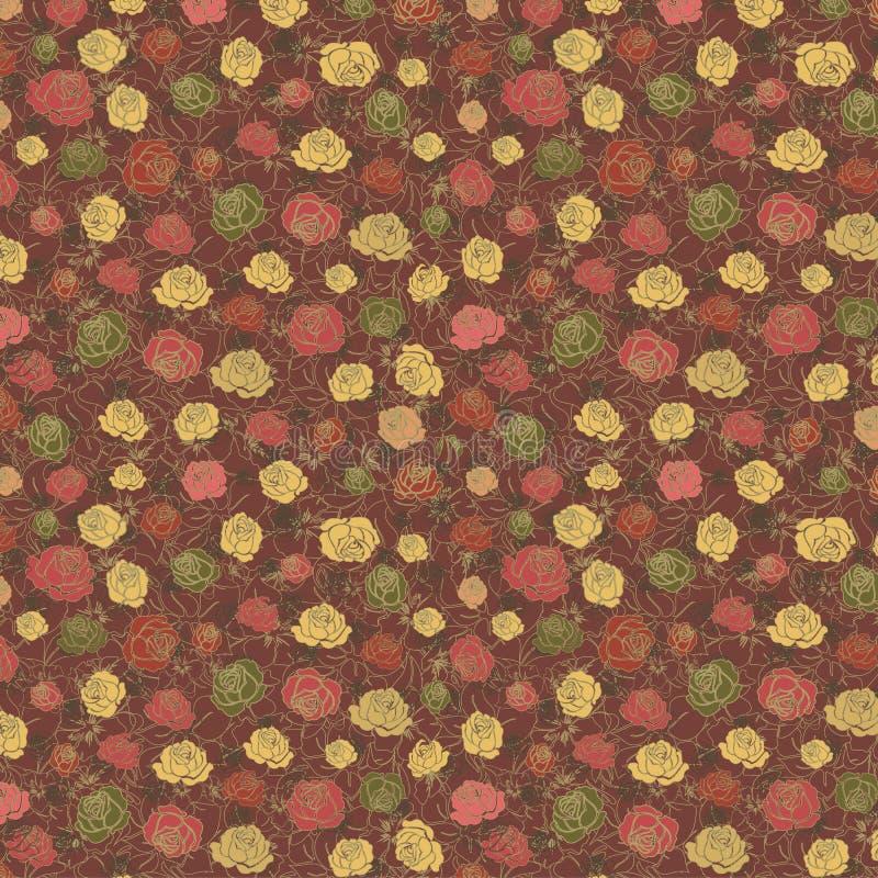 Estampado de flores con las rosas coloreadas ilustración del vector