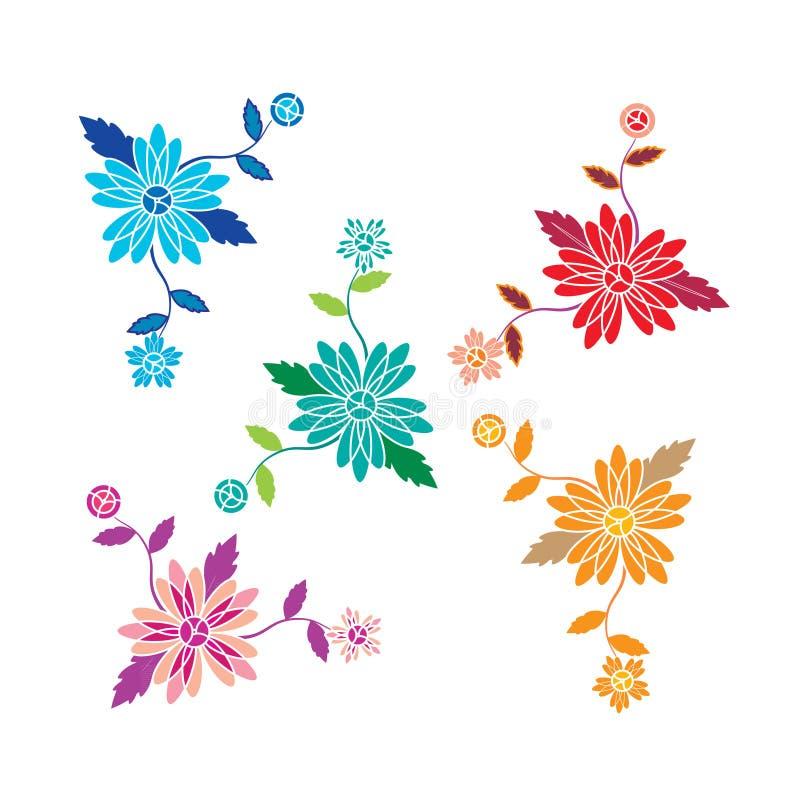 Estampado de flores con vector de las flores y de las hojas ilustración del vector