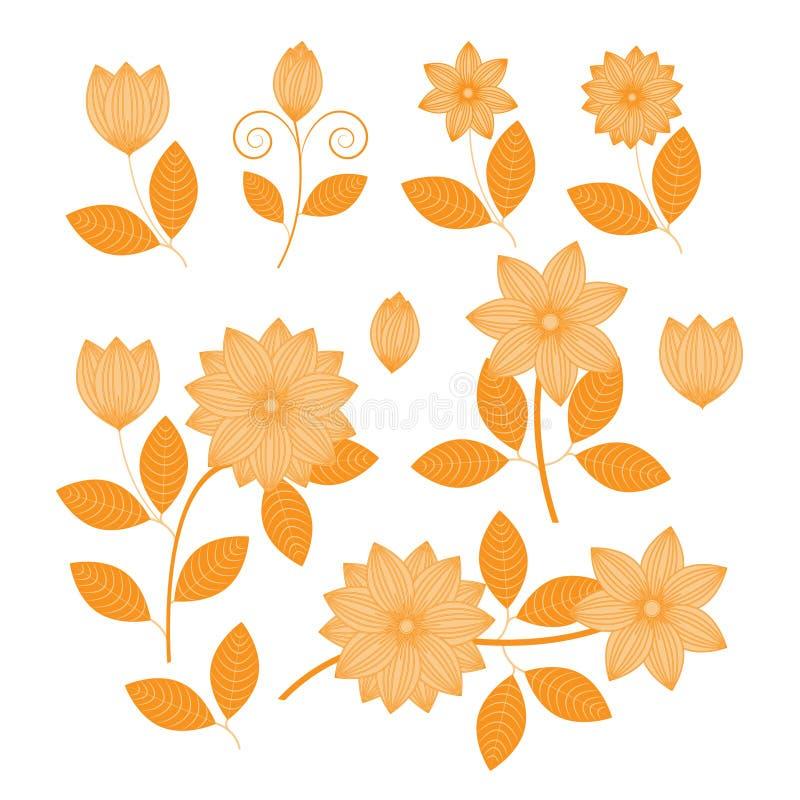 Estampado de flores con vector de las flores y de las hojas stock de ilustración