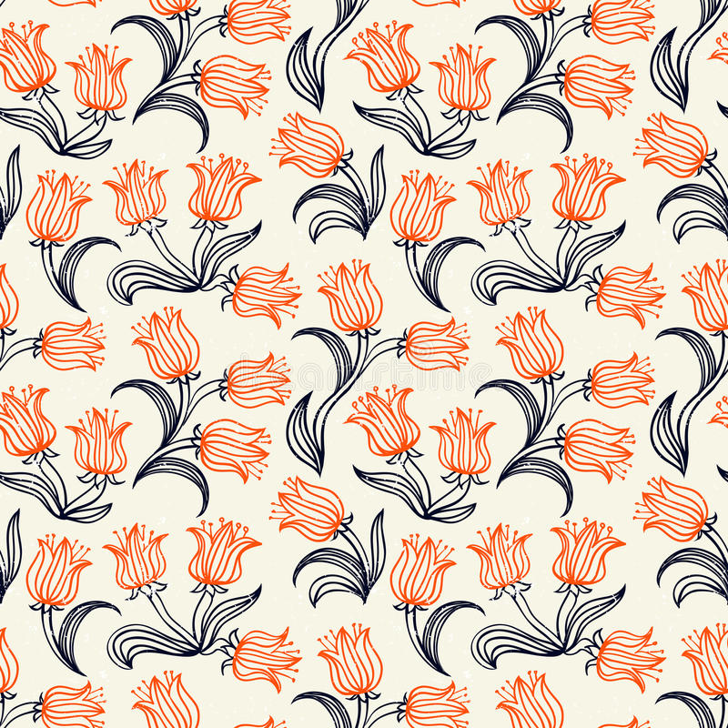Estampado de flores de Ditsy con los pequeños tulipanes rojos libre illustration