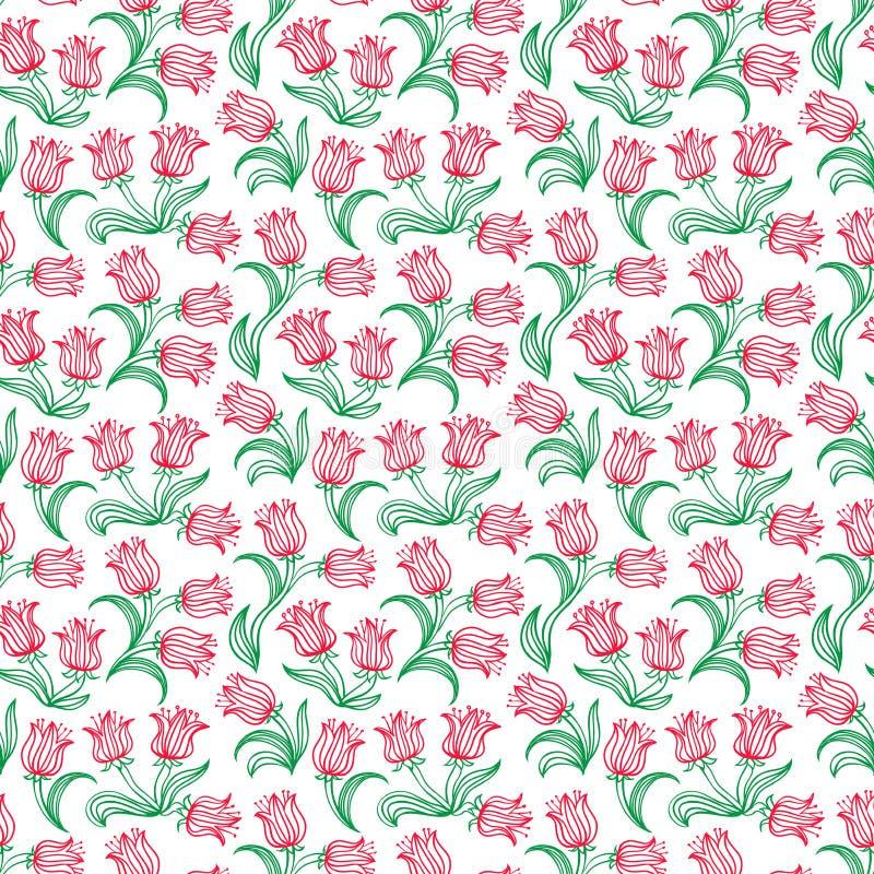 Estampado de flores de Ditsy con los pequeños tulipanes rojos stock de ilustración